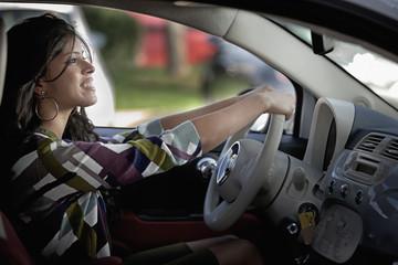 Indian woman driving car
