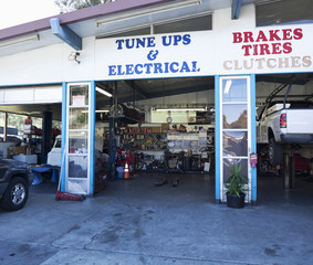 Open doorway of auto repair shop