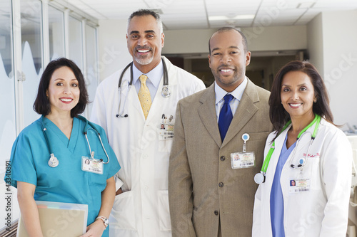 Administrator, doctors and nurse in hospital