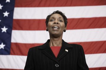 Black politician making speech