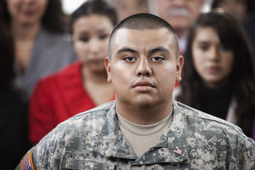 Serious Hispanic soldier