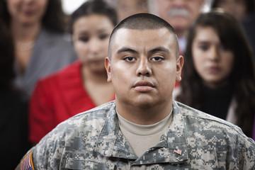 Serious Hispanic soldier