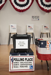 Ballot box in polling place