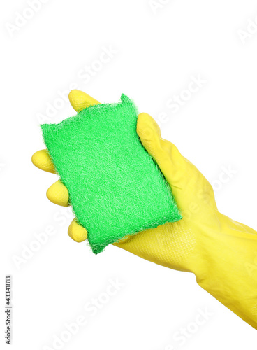 Sponge in hand isolated on white