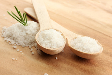 salt in spoons with fresh  rosemary on wooden background