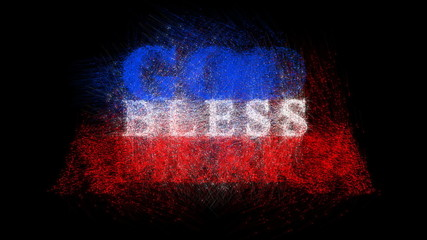 The phrase 'God Bless America' formed from an American flag.