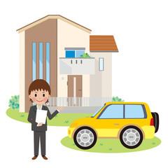家と営業マン