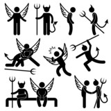 Devil Angel Friend Enemy Icon Symbol Sign Pictogram