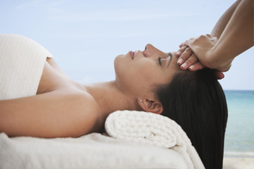 Hispanic woman having a massage