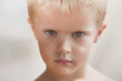 Serious Caucasian boy