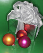 Festive Christmas gift with colored ornaments