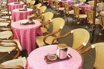 Chairs and tables in sidewalk cafe