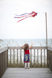 Girl standing on deck near ocean