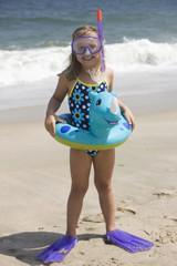 Caucasian girl in snorkel gear