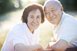 Smiling senior Chinese couple outdoors