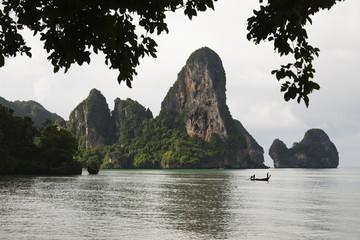 Thai long tail boat on ocean