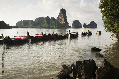 Thai boats moored in ocean