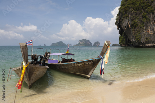 Thai long tail boats on beach
