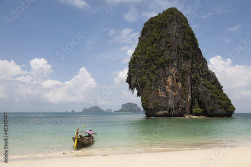 Thai long tail boat on beach