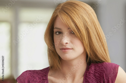 Serious Caucasian teenage girl