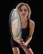 Caucasian tennis player holding tennis racket