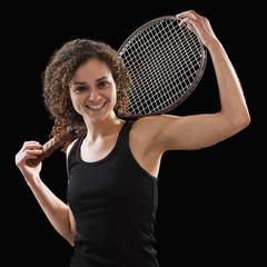 Caucasian tennis player holding tennis racket