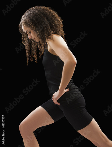 Caucasian woman exercising
