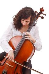 Beautiful woman cellist