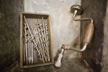 Old-fashioned, drill and drill bits