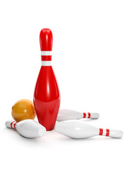 3d illustration: One big red pin and bowling ball