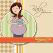 happy pregnant woman, baby shower card