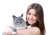 Woman hold her lovely Ragdoll cat with blue eyes