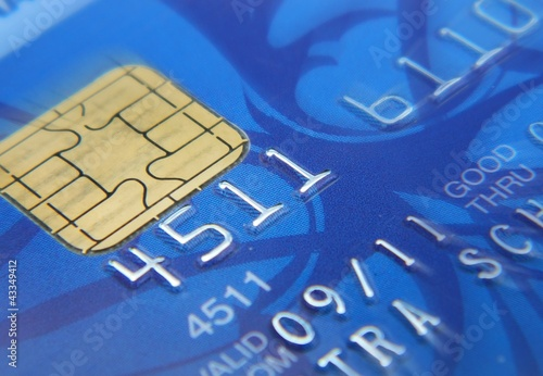 Closeup image of blue credit card