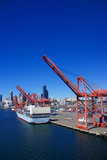 Container ship and dockyard cranes