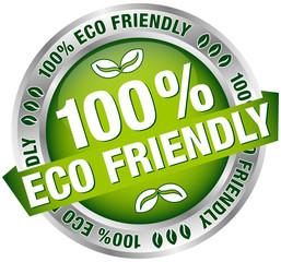 "Button Banner ""100% Eco Friendly"" Green/Silver"