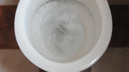 footage of flushing of commode toilet seat
