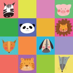 Lovely cartoon animals template for children