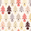 Seamless Christmas Tree Background in natural color scheme
