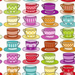 Rainbow Colored Vintage style Teacup Seamless Background