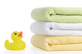 Bath accessories. Bath towels and Yellow rubber duckies