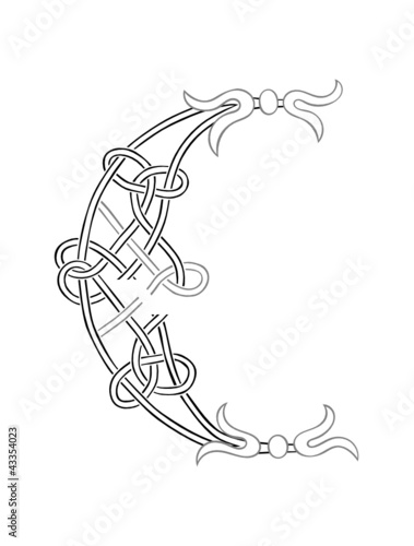 A Celtic Knot-work Capital Letter C Stylized Outline