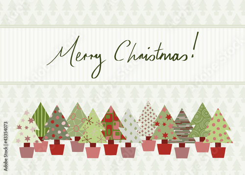 Merry Christmas Card with hand-drawn Christmas tree design