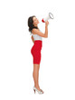 woman in a dress with megaphone