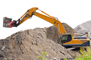 Isolated excavator with rockpile