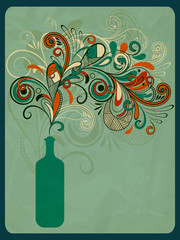 vector retro concept composition with stylized bottle of wine on