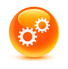 Process Icon Orange Button