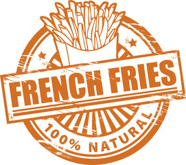Stamp, with the text french fries written inside, vector