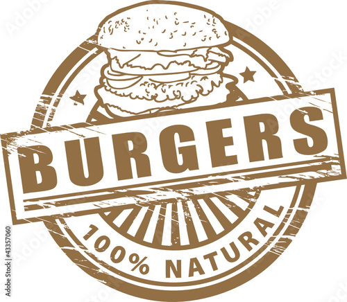 Stamp, with the text burgers written inside, vector illustration