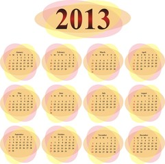 vector calendar 2013 in orange transparent ovals