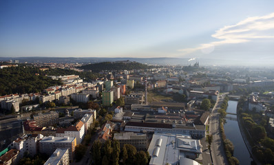 Highly detailed aerial city view, Spilberk Castle and Cathedral